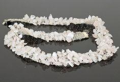 Crochet Wire Ecru and Rose Quartz Necklace. $58.00 USD, via Etsy.