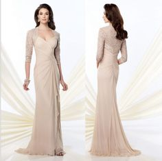 ff547a5040e06 Champagne mother of the bride dresses chiffon evening gown plus size lace  jacket