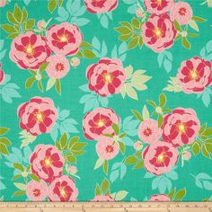 Riley Blake The Cottage Garden Large Floral Teal from @fabricdotcom  Designed by The Quilted Fish for Riley Blake, this cotton print is perfect for quilting, apparel and home decor accents.  Colors include white, yellow, shades of pink, shades of green and shades of blue.