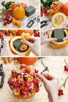 Dekoracja z dyni DIY #dekoracje #halloween #dekorowanie #DIY #zróbtosam #zrobtosam #makeityourself #doityourself #deco #interior #flowers #pumpkin #dynie #kwiaty #pomysły #ideas