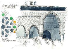 """""""Alcazar, Palacio de Pedro el Cruel"""" Gerard Michel sketchcrawl, in Sevilla (Seville), Spain along the river Guadalquivir"""