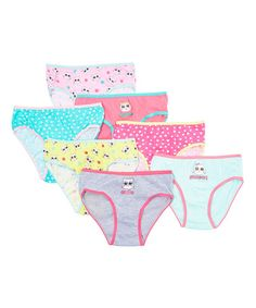 Love this Blue & Pink Cat Cotton Underwear Set - Girls on #zulily! #zulilyfinds  . . . . So happy to be buying my youngest child's first panties! Yay for potty trained kids! Also, these were like a third of the cost I could buy them at other stores!!! Yay for Zulily deals!