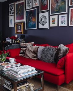 You Should Know About Red Couch Living Room Ideas 104 - homesdecoring Red Living Room Decor, Red Couch, Red Leather Sofa Living Room, Red Couch Living Room, Living Room Designs, Red Sofa Decorating, Apartment Living Room, Living Room Sofa, Couches Living Room