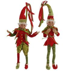Posable elf ornament in red and green and measures 51cm.