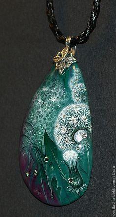 Pendants handmade.  Dandelion fantasy.  Svetlana Belovodova.  Arts and crafts fair.  March 8 gift