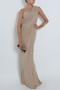 Elie saab One Shoulder Draped Gown in Beige (black) | Lyst