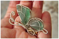 Harmony. Genuine Teal Sea Glass Jewelry Wire Wrapped Pendant. Unique. Sea glass butterfly.