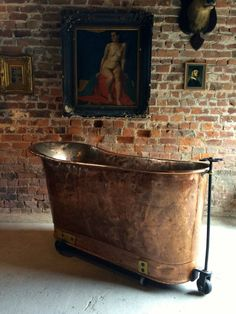 Antique French Copper Bath Victorian 19th Century Casters