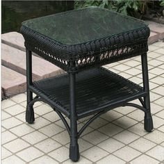 Wicker Lane offers black wicker coffee tables, wicker tables, wicker side tables, wicker end tables, outdoor wicker furniture and more.  www.wickerlane.com Wicker Side Table, Wicker Coffee Table, Side Tables, Coffee Tables, Outdoor Wicker Furniture, Outdoor Decor, Sunroom, Outdoor Living, Ottoman