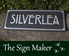 A slate house sign made by The Sign Maker. The size is 250mm x 150mm and the font is Rennie Makintosh IT bold. The paint colour memorial silver - an excellent quality long lasting paint. ref 2102.SS.047 Name Plates For Home, Slate Signs, House Names, House Signs, Sign Maker, Just The Way, Clear Acrylic, Signage, Paint Colors