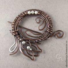 "Handmade brooches. Fair Masters - handmade brooch ""Primrose"" copper with pearls. Handmade."