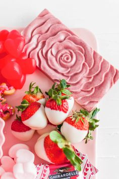 This Valentine's Dessert Board is simple and delicious to put together. A few simple homemade treats filled in with adorable store-bought options. Christmas Desserts Easy, Valentine Desserts, Valentines, Funny Valentine, White Chocolate Strawberries, Dried Strawberries, Chocolate Melting Wafers, Chocolate Cookies, Blue Desserts