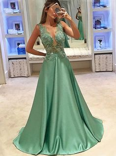 elegant mint satin prom dress with appliques, fashion a-line v-neck mint party dress with beading