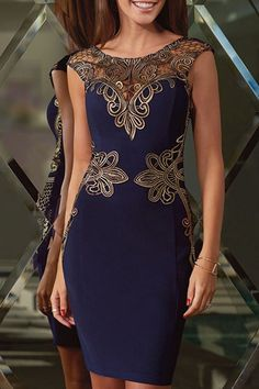Openwork Lace Appliques Sleeveless Dress