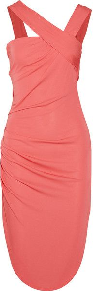 Ruched Asymmetric Jersey Dress - Lyst...love the straps