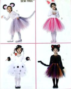 No Sew Costume Pattern Girls 6 7 8 Uncut Cat Mouse Rabbit Tutu Halloween