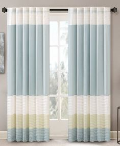 Madison Park Carter Colorblocked Pintuck Window Panel and Valance Collection | macys.com