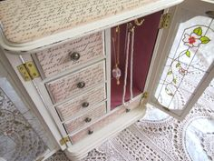 Shabby Chic Jewelry Box Vintage Wood Armoire by Mydaisy2000