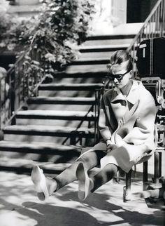 Audrey Hepburn at the sets of Breakfast at Tiffany's 1960