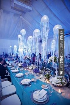 Our moon jellies are super beautiful. Use this idea to make a big statement with jellyfish in your wedding. under the sea wedding motif with hanging jellyfish table decorations - great aquarium wedding idea Sea Wedding Theme, Wedding Themes, Dream Wedding, Wedding Decorations, Wedding Ideas, Ocean Party Decorations, Wedding Beach, Wedding Pins, Wedding Receptions