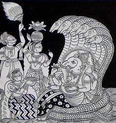 Devotees Worshipping Lord Ganesha - Folk Art Paintings (Phad Painting on Cloth - Unframed) Pichwai Paintings, Indian Art Paintings, Indian Artwork, Abstract Paintings, Madhubani Art, Madhubani Painting, Kalamkari Painting, Painting Tips, Fabric Painting