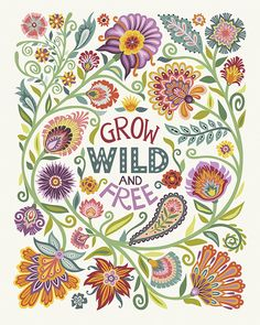 Grow Wild and Free Folk Art Floral Botanical Print Quote Wycinanki Polish Flower Papercut Style Gift 8 x 10 or 11 x 14