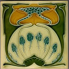 Shop Repro German Jugendstil Art Nouveau Multi Floral Ceramic Tile created by TessieRay. Art Nouveau Tiles, Art Nouveau Design, Antique Tiles, Vintage Tile, Azulejos Art Nouveau, Jugendstil Design, Artistic Tile, Arts And Crafts Movement, Stencil Designs