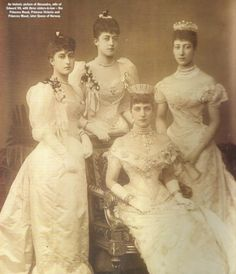 Queen Alexandra, wearing the Russian Kokoshnik Tiara, and her daughters Louise, Princess Royal and Duchess of Fife, Princess Victoria Alexandra and Maud, Queen of Norway