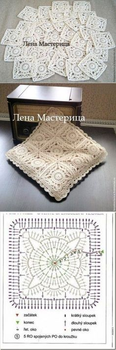 Pattern Square Knitting: master class: Square motif & # To …Crochet Patterns Pillow Beautiful granny square with pflower lace square photo byThis post was discovered by 木木Crochet fabric is a very popular option for lining cushions. Filet Crochet, Beau Crochet, Crochet Chart, Crochet Home, Crochet Motif, Crochet Designs, Crochet Doilies, Crochet Stitches
