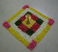 Rangoli Designs Flower, Small Rangoli Design, Rangoli Ideas, Rangoli Designs Diwali, Diwali Rangoli, Flower Rangoli, Beautiful Rangoli Designs, Mandala Design, Flower Designs