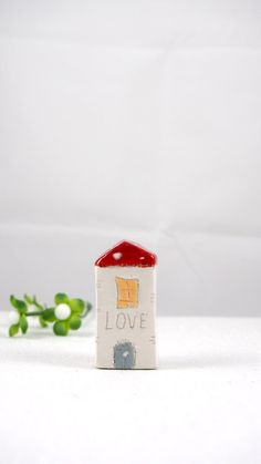 Valentines day, Unique Ceramic Houses - LOVE  -  Home Decor - Small pottery houses - Handmade miniature ceramics sculptures in red