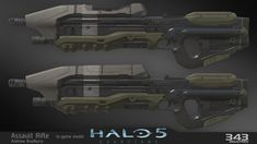 The Assault Rifle I created for Halo 5.  Shown is the high res Maya model and the low res in game model with textures.