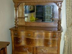 Antique Oak Sideboard Buffet With Mirror Google Search