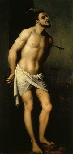 Ribalta Francesco, San Sebastiano (1610 ca.), olio su tela, cm 124x60. Valencia, Spagna, Museo de Belles Arts.