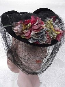 Vintage 1930s Hat Black Tilt Flowers Veiling Wool Felt Old Hollywood Drama