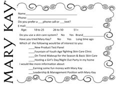 Survey Card for your Mary Kay® facial boxes or fish bowls. As a Mary Kay beauty consultant I can help you, please let me know what you would like or need. www.marykay.com/KathleenJohnson  www.facebook.com/KathysDaySpa.