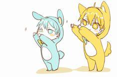 adorable, anime, boy, bunny, cat, cute, dancing, fanart, gif, guy, kawaii, kuroko no basket, kuroko no basuke, kuroko tetsuya, two boys, two guys, kise ryota, tetsu-kun