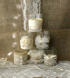 Crafts with Burlap and Lace | burlap-and-lace-wedding-tea-candles-victorian-wedding-centerpiece.jpg