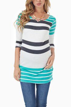 Mint-Grey-White-Striped-3/4-Sleeve-Maternity-Tunic #maternity #fashion