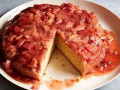 Get Strawberry Rhubarb Upside-Down Cake Recipe from Food Network