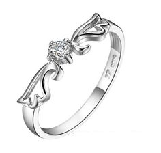 18k Gold Plated White Gold Finish Cute Feather CZ Ring Sz 4.5-9.5
