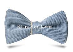 Купить галстук-бабочку - голубая бабочка самовяз с золотистым оборотом