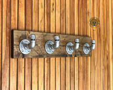 Industrial Towel Rack With Silver Hooks Rustic Modern Coat Towel Rack Bathroom, Towel Hooks, Coat Hooks, Kitchen Towels, Bathroom Furniture, Modern Furniture, Furniture Ideas, Tool Hangers, Decorative Wall Hooks