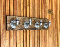 Industrial Towel Rack With Silver Hooks Rustic Modern Coat Bathroom Furniture, Modern Furniture, Furniture Ideas, Bathroom Rack, Bathroom Towels, Kitchen Towels, Tool Hangers, Decorative Wall Hooks, Pipe Rack