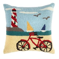 One of my favorite discoveries at ChristmasTreeShops.com: Castle Hook Lighthouse Square Throw Pillow