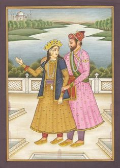 "Shah Jahan and Mumtaz Mahal.  Shah Jahan was Mogul emperor of India who overthrew the corrupt government of his father, Jahangir, and restored in part the noble ethics of his grandfather Akbar the Great.  Together with his beloved Mumtaz, they helped raise India into a golden age of architecture and art.  Shah Jahan built the Taj Mahal as a shrine to Mumtaz who died in 1631 giving birth to their fourteenth child. He spared no effort in making the monument ""as beautiful as she was beautiful."""