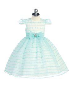 Love this Aqua Stripe Bow Cap-Sleeve Dress - Toddler & Girls on #zulily! #zulilyfinds