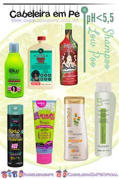 Lista com 7 shampoos sem sulfato (Low Poo) com pH baixo (menor que 5,5) das seguintes marcas: ILike, Lola Cosmetics, Inoar, Novex, Salon Line, Bio Extratus e Gllendex. Clique no link para conferir a faixa de pH individual de cada shampoo.    Clique aqui: http://www.cabeleiraempe.com.br/2017/12/7-shampoos-liberados-low-poo-ph-baixo-menor-que-5-5-parte-1.html