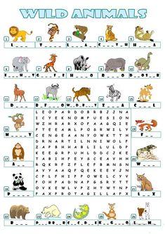 WILD ANIMALS - WORDSEARCH