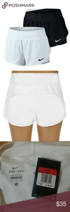 Nike Dri-Fit Nike short,  inside attached compression shorts, and Dri-FIT fabric that wicks moisture for ultimate comfort. Dri-FIT 100% Polyester , Inner short: DRI-FIT 80% polyester/20% spandex.  Style 728783. Color White. Nike Shorts